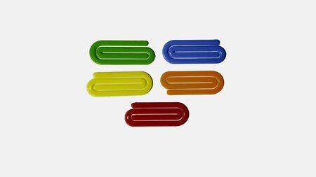 Colorful paper plasic clips isolated on white background