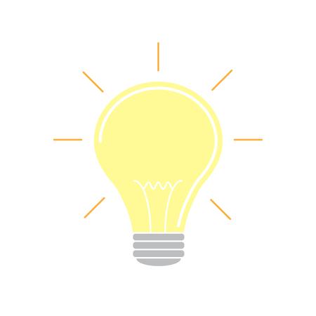 Vector illustration. Light bulb with rays shine. Energy and idea symbol.