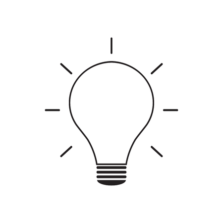 Light bulb line icon vector, isolated on white background. Idea sign, solution, thinking concept Illustration