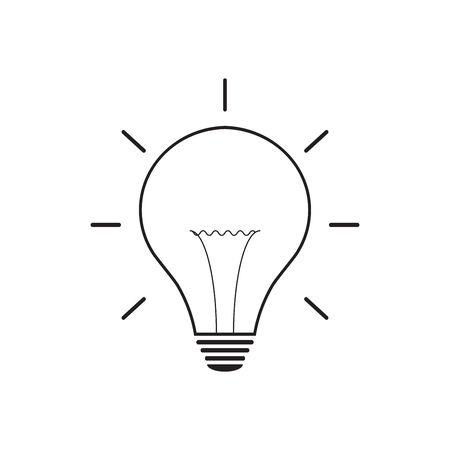 Light bulb line icon vector, isolated on white background. Idea sign, solution, thinking concept Иллюстрация