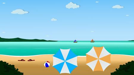 Vector summer beach with beach umbrellas