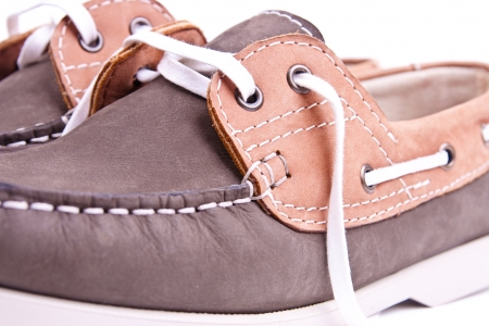 moccasins: elegance new moccasins on white background in studio Stock Photo