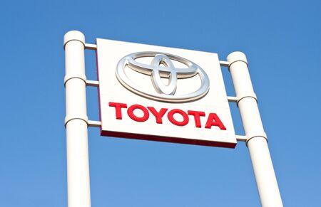 Toyota logo/branding at a car dealership Stock Photo - 16225039