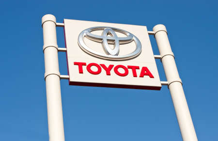 Toyota logo/branding at a car dealership Stock Photo - 16225052