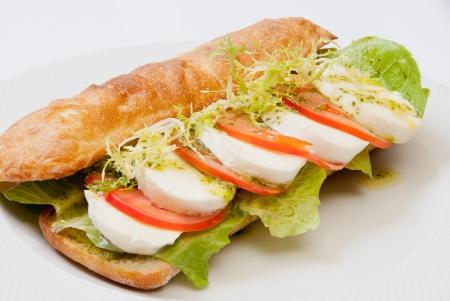 sandwich with tomato and mozarella on white dish photo
