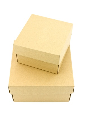 two box from cardboard on white background photo