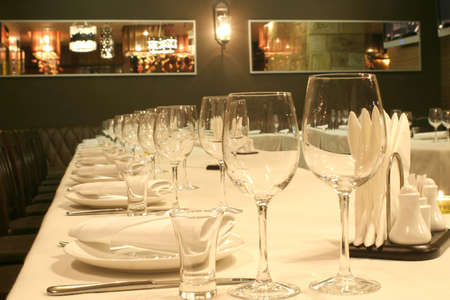 inwardly: inwardly maid of restaurant before the beginning of banquet