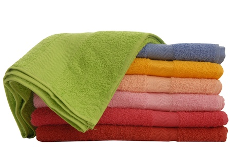 a few coloured towels, isolated on a white background