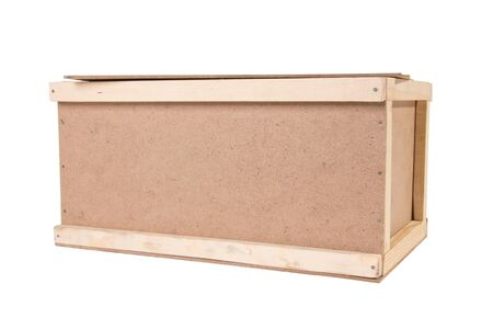 wooden lid: wooden box with a lid, on a white background