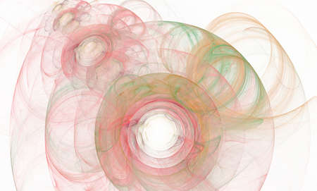 fractal pink: Orange and pink  abstract fractal round and lines on white Stock Photo