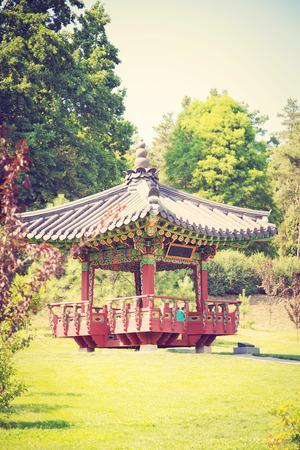 arbour: beautyfull oriental arbour in city park in Kyiv