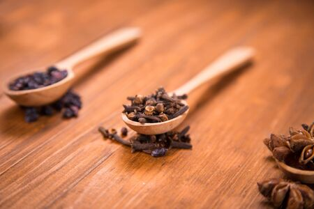 anis: spices of nail,anis star and barberry in wooden spoons in a studio