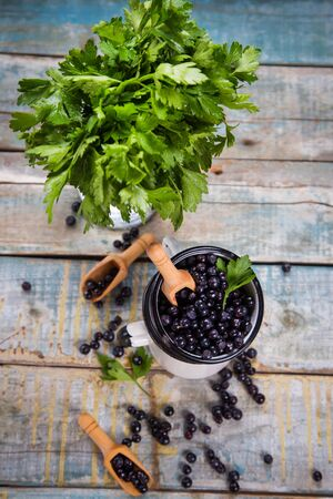 bilberry: fresh bilberry with green parsley in white cups Stock Photo