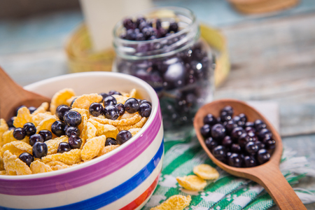 bilberry: cornflake with fresh ripe bilberry and milk in crockery dish Stock Photo
