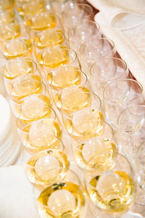 formal dinner party: Inside of the wine catering for guests of the event Stock Photo