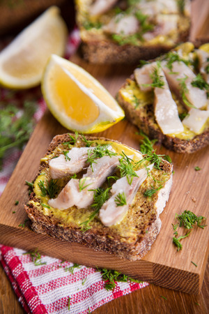 sandwich with herring,mustard sauce and fresh green dill in studio Reklamní fotografie