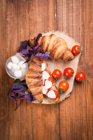 fresh healthy  sandwich with mozarella cheese and red tomatoes