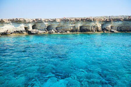 Sea caves littoral caves near Ayia Napa, Mediterranean sea coast, Cyprus.