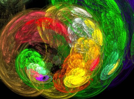 Colored abstract fractal round and lines on black
