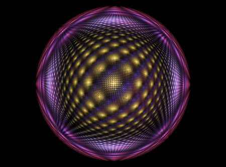 Violet,yellow abstract  fractal round and lines on dark background Zdjęcie Seryjne