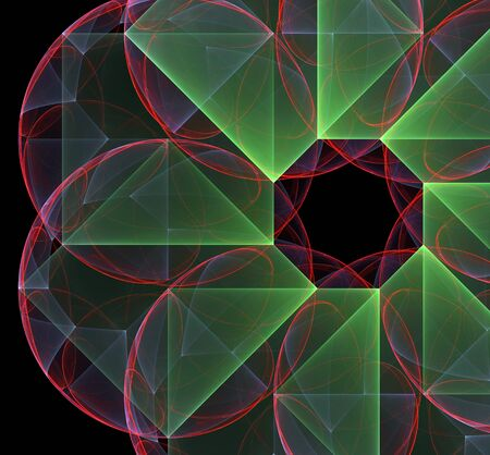 red and green abstract  fractal round and lines on dark background