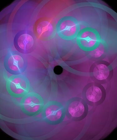 violet abstract  fractal round and lines on dark background