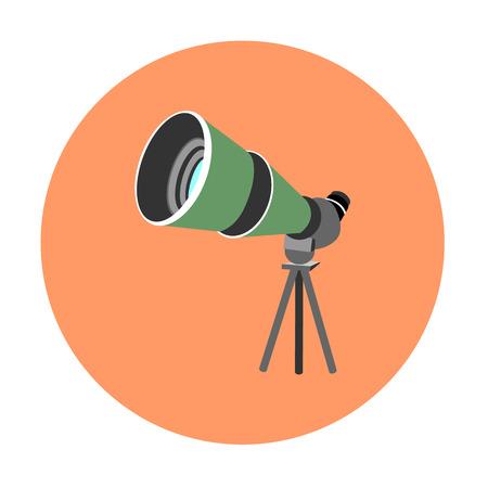 Birdwatching travel scope icon isolated on orange background.