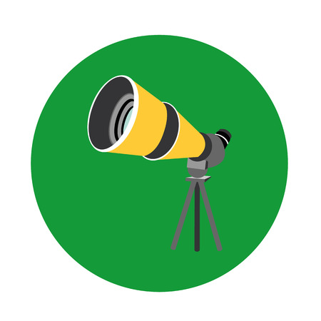 Birdwatching travel scope icon isolated on green background.