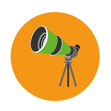 Birdwatching travel scope icon isolated on orange background.
