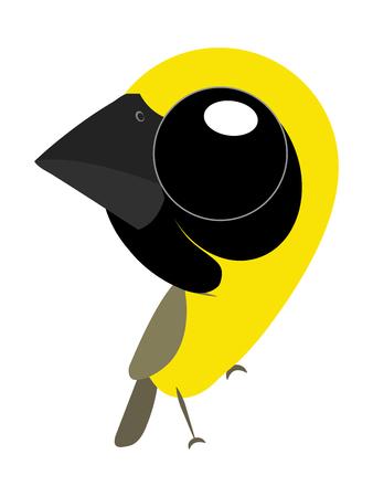 A birds cartoon of Asian golden weaver or weaver bird type and cute bird because it's have a big eyes.