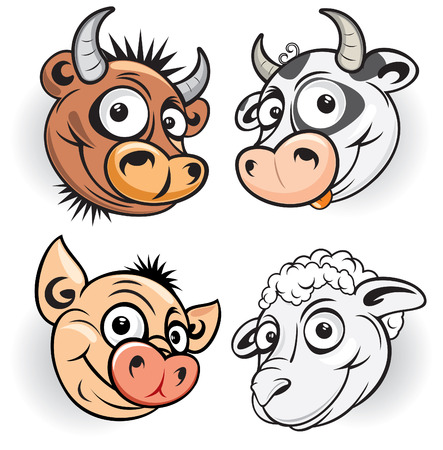 Farm animals mascot of bull,cow,pig,sheep Vector