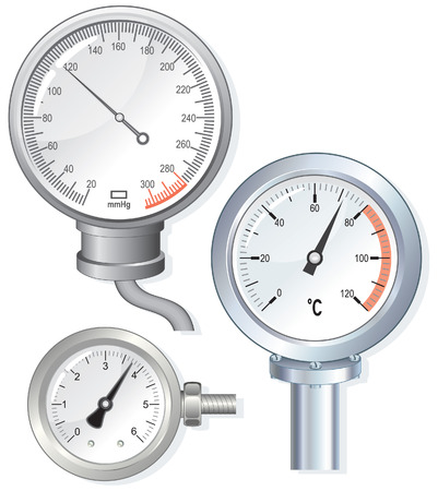 device faces thermometer,pressure gauge Stock Vector - 6835314