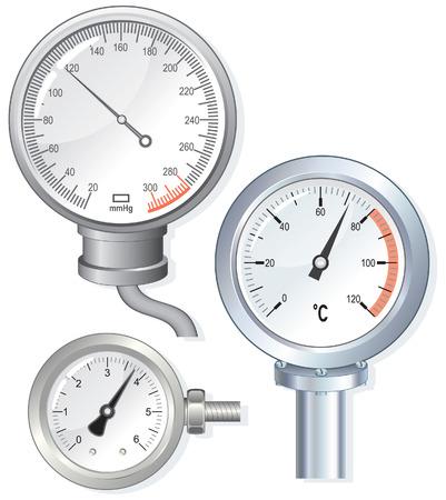 termómetro de caras de dispositivo, medidor de presión  Ilustración de vector