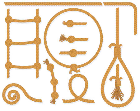 rope ladder: twisted rope collection- isolated  design elements:gallows, ladder, cable, lasso, knots, loop, spiral etc.. Illustration