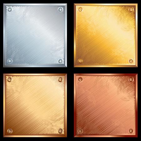 Conjunto de placas metálicas antiguas con tornillos. Variantes de oro, plata, bronce y latón. -zip incluye AI, CDR, JPEG