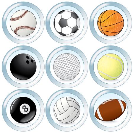 Set of sport balls buttons Vector