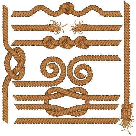 詳細なロープの罫線のセット  イラスト・ベクター素材