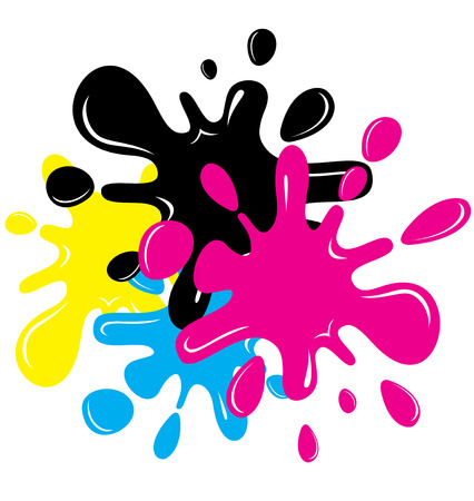CMYK Cartoon inkblots Stock Vector - 7491653