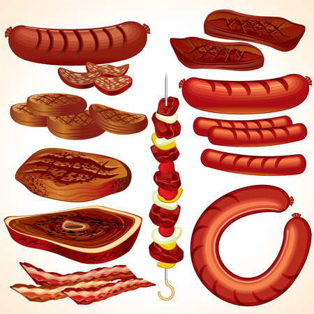 Colección al aire libre: filetes, shish kebab, hamburguesas, salchichas, hot dogs, tocino, salchichas