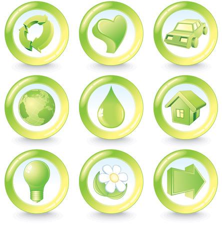 Set of green beauty ecology buttons Vector