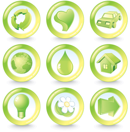 ecology emblem: Set of green beauty ecology buttons
