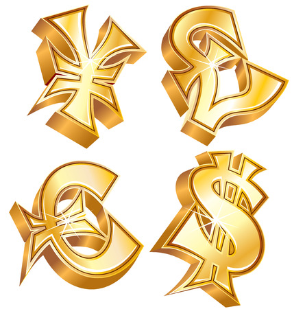 Golden symbols of world currencies: Dollar, Euro, Yen and Pound Stock Vector - 7491655