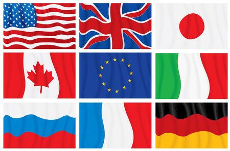 G8 waving flags Vector