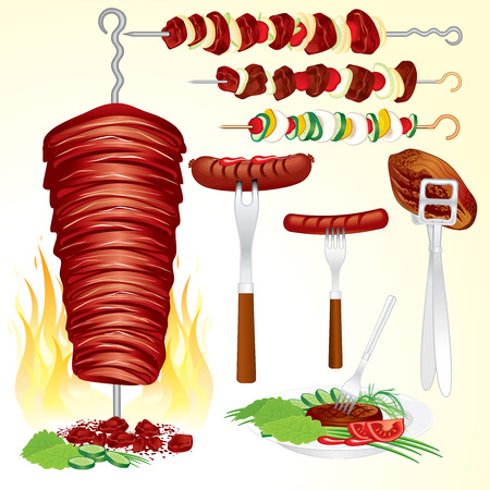 tongs: Set of assorted grilled:inc hot dog, steak, doner kebab, shish kebab, veggies shish kebab