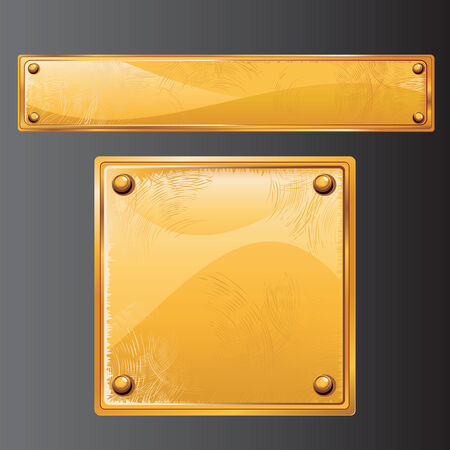 brushed gold: Vector Ancient Golden Sign.Scratches metal texture (no mesh)  Illustration