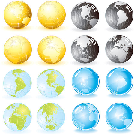 Globes set-vector design elements Stock Vector - 7606249