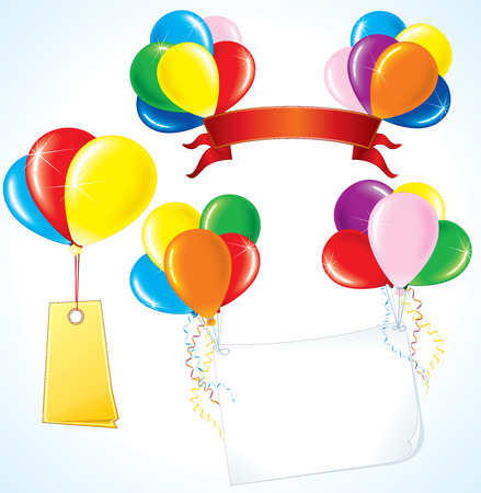 Colorful advertising balloons with various banners for your text. Vector