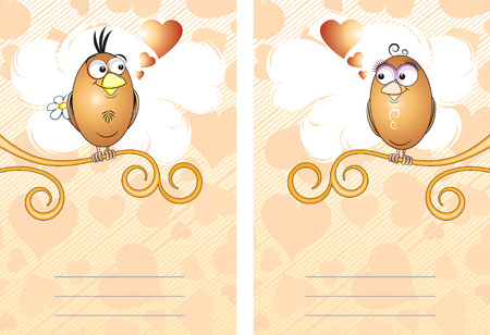 Two cards with cute birds  Vector