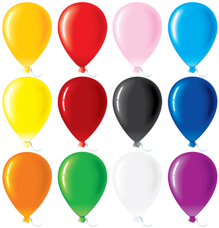 red balloons: Colorful glossy balloons -vector set Illustration