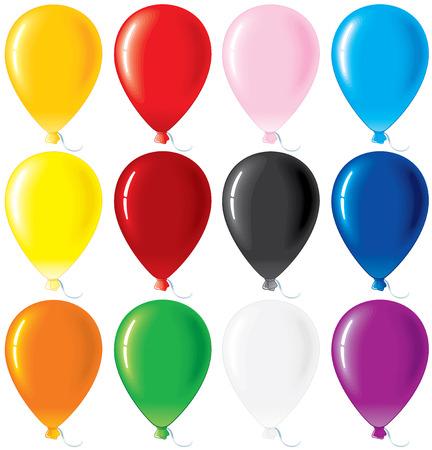 globos de fiesta: Globos de colores brillantes - conjunto de vectores